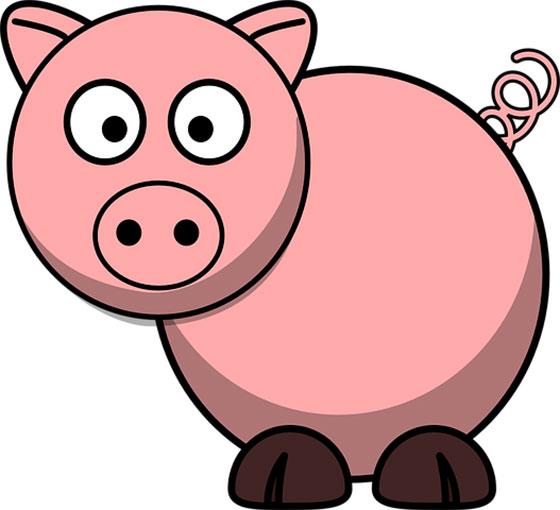 عکس کارتونی حیوانات اهلی : خوک بامزه