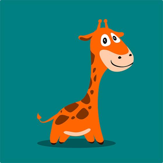 عکس کارتونی حیوانات جنگل : زرافه بامزه