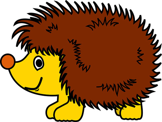 عکس کارتونی حیوانات جنگل : جوجه تیغی بامزه