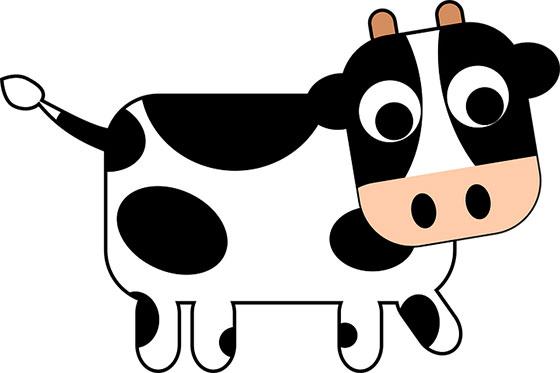 عکس کارتونی حیوانات اهلی : گاو بامزه