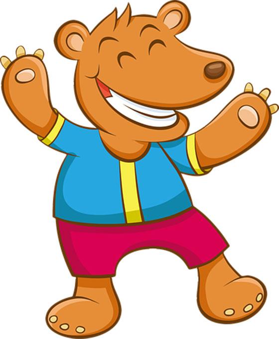 عکس کارتونی حیوانات جنگل : خرس شاد