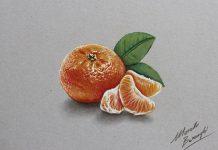نقاشی سه بعدی نارنگی با مداد رنگی