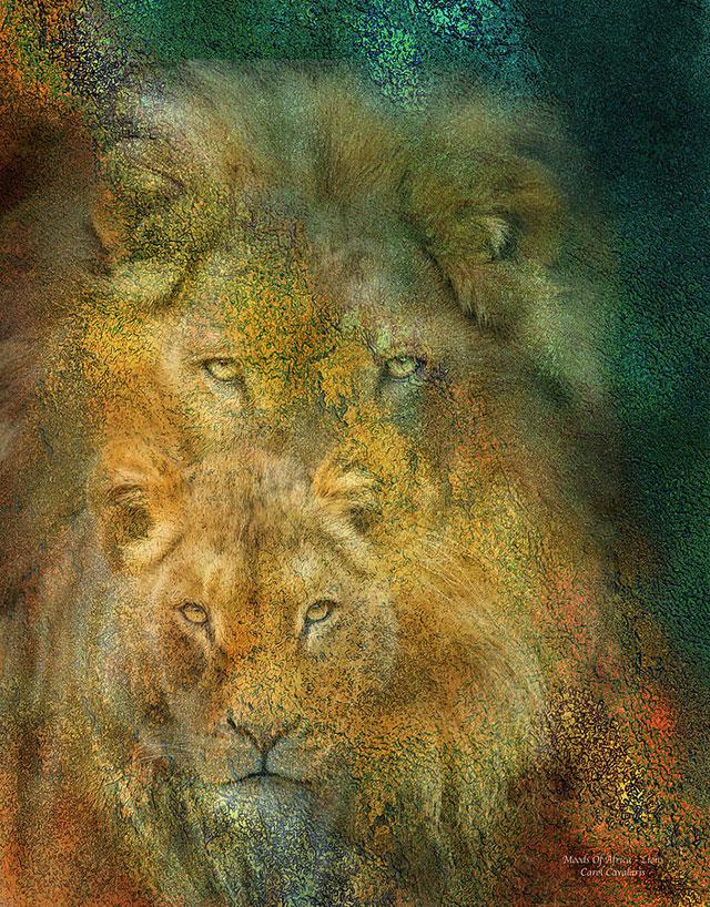 نقاشی زیبا شیر جنگل