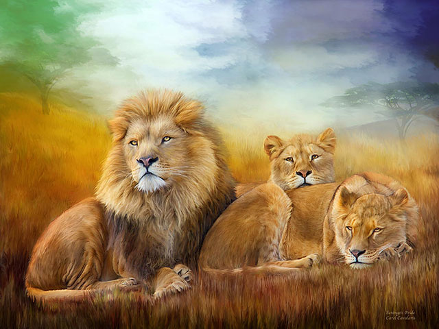 نقاشی های زیبا از شیرهای جنگل