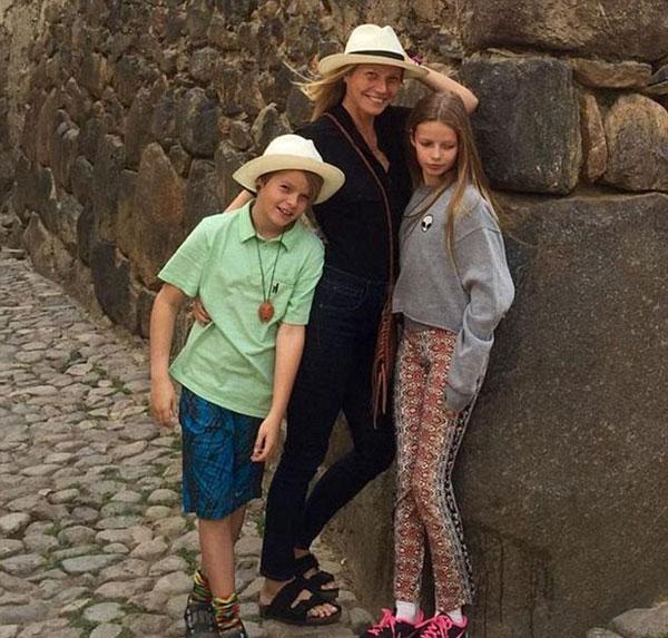 گوئینت پالترو و دختر و پسرش