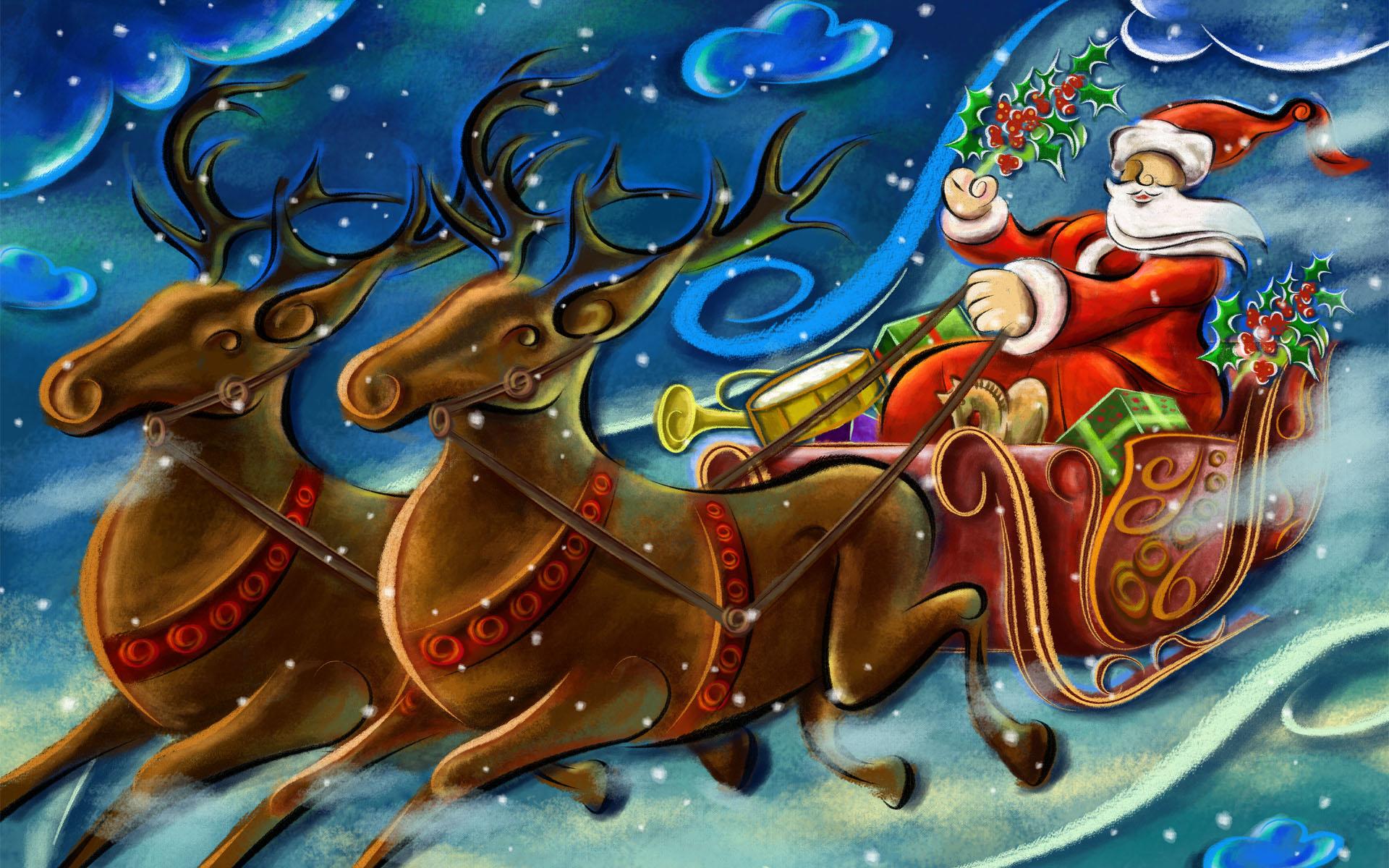 والپیپر بابانوئل و گوزن های شمالی کریسمس