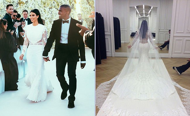 عکس عروسی کیم کارداشیان و کانیه وست , لباس عروس کیم کارداشیان