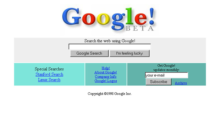 سایت گوگل سال 1998