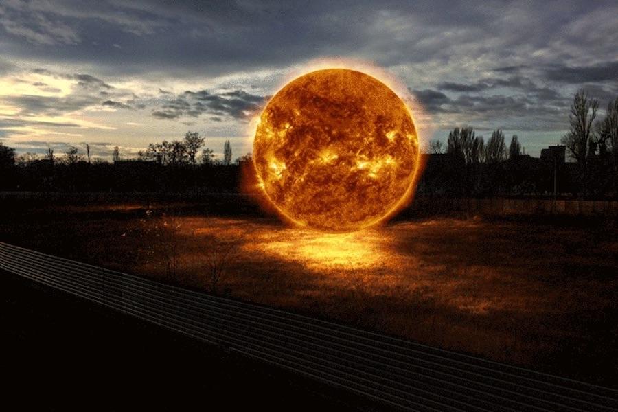 عکس های متحرک خورشید داغ و سوزان در طبیعت کره زمین