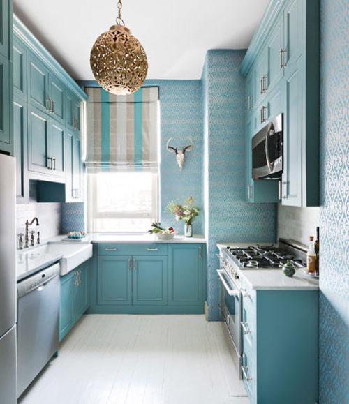 رنگ دکوراسیون آشپزخانه:آبی آکوا