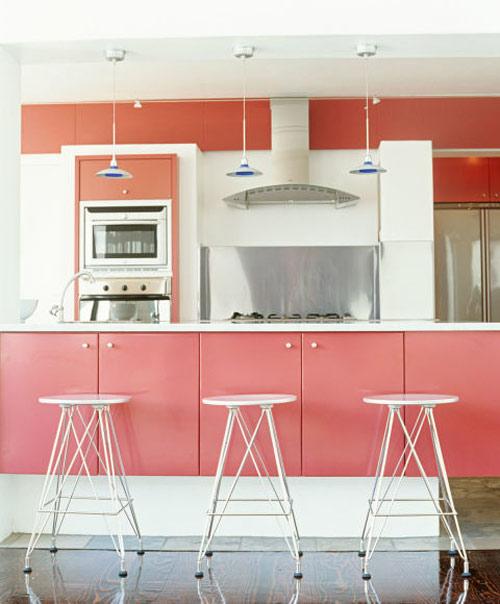رنگ دکوراسیون آشپزخانه:صورتی رزی