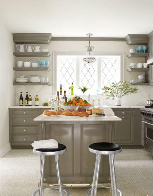 رنگ دکوراسیون آشپزخانه:خاکستری مایل به قهوه ای