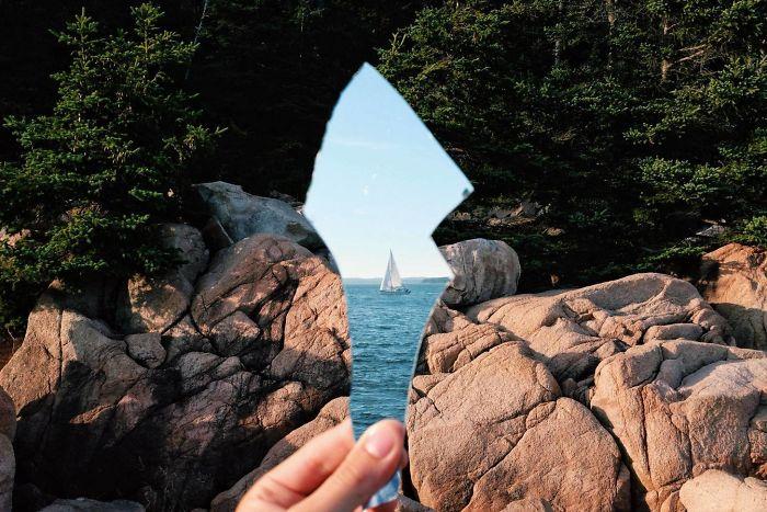 بازتاب یک کشتی در آینه شکسته