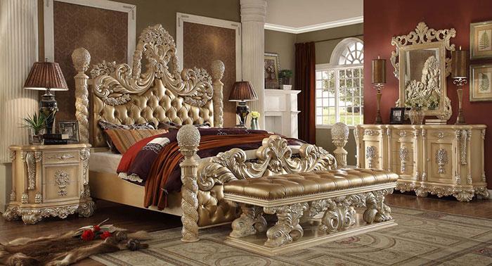 مدل تخت خواب دو نفره سلطنتی طلایی