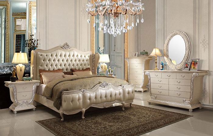 تخت خواب دو نفره سلطنتی سفید
