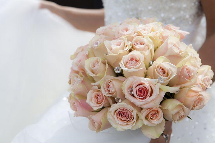 دسته گل عروس , تصاویر دسته گل رز سفید
