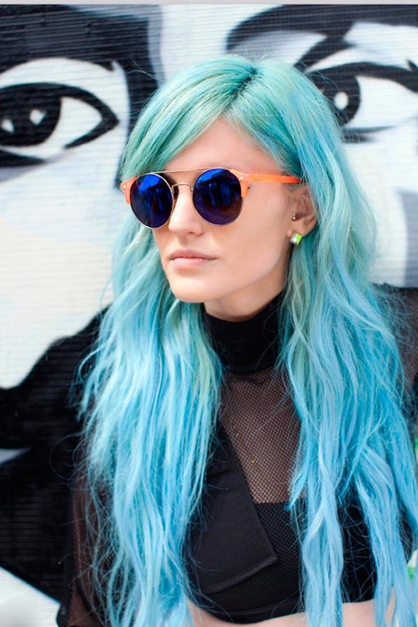 عکس رنگ موی پاستیلی آبی