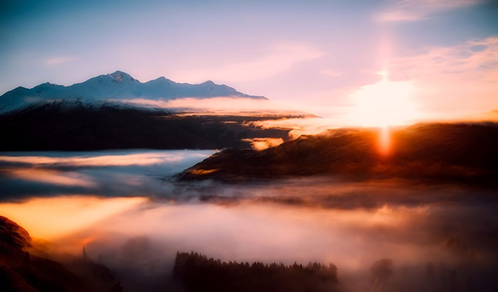 عکس ضد نور رویایی از بالای ابرها