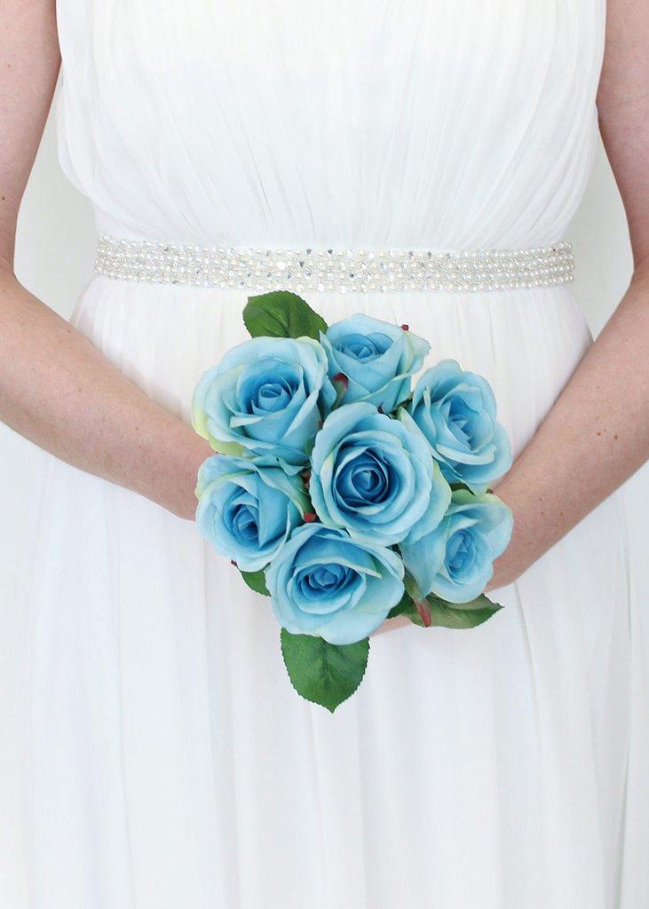 عکس دسته گل عروس بلا رز آبی