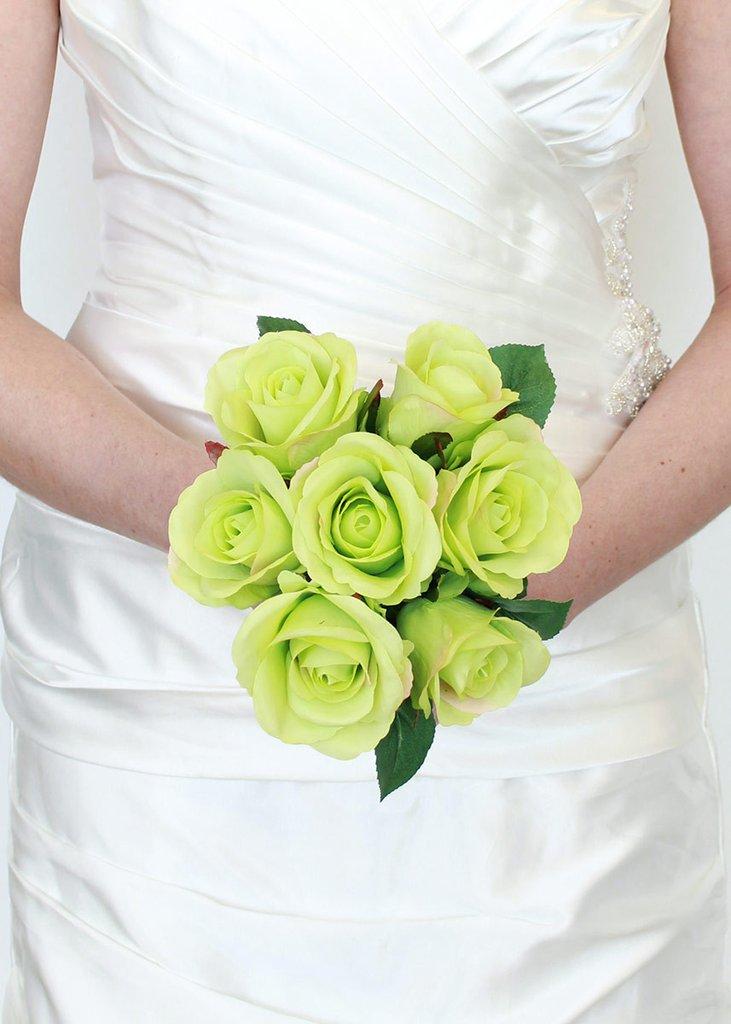 عکس دسته گل عروس با رز سبز
