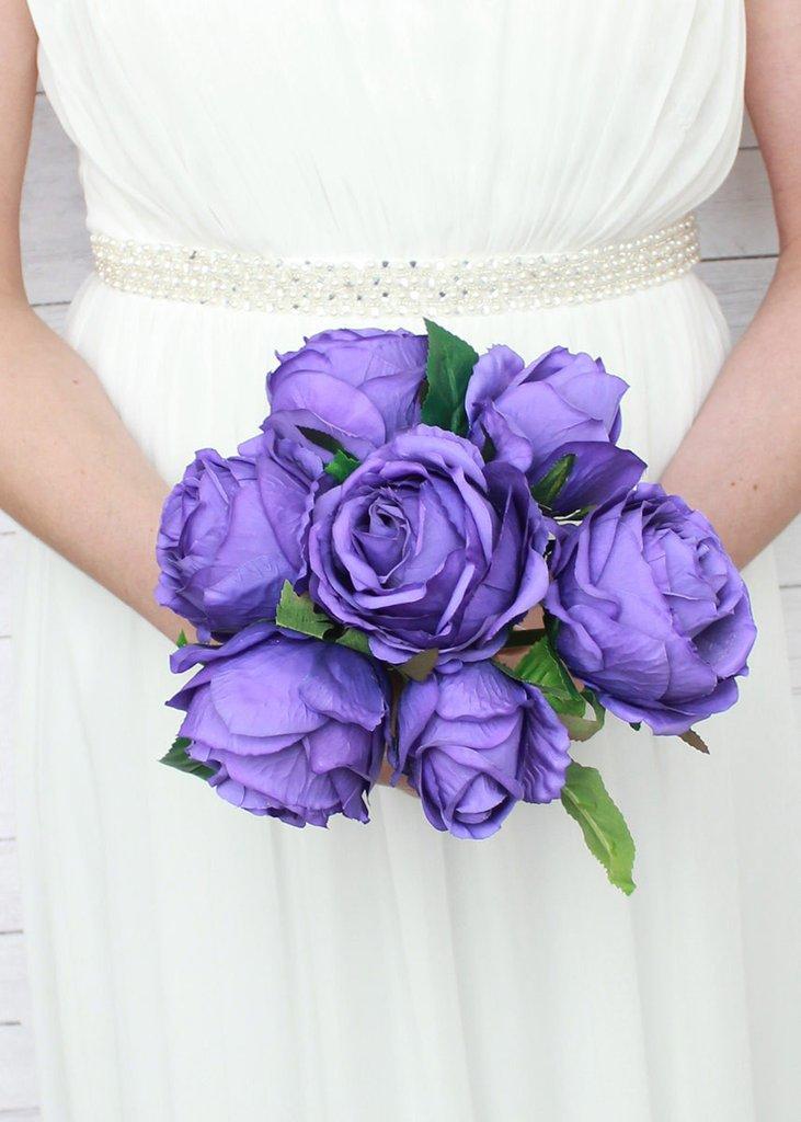 عکس دسته گل عروس رز بنفش