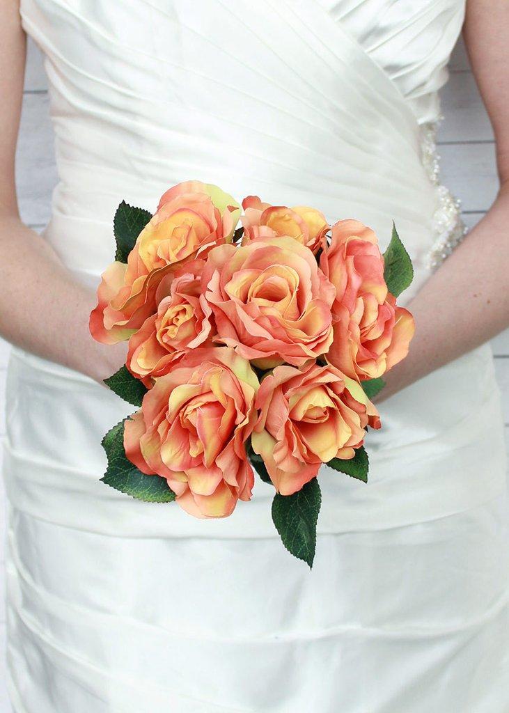 عکس دسته گل عروس رز نارنجی