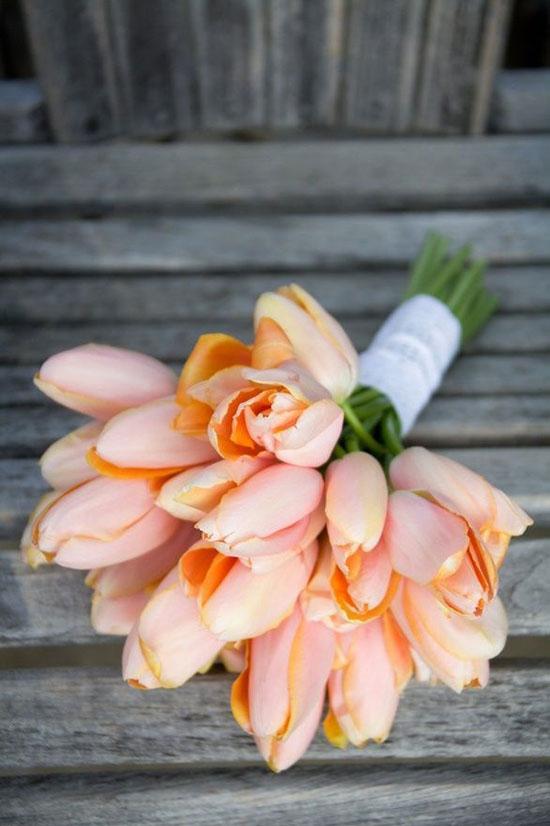 مدل دسته گل عروس لاله نارنجی