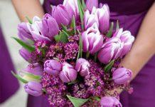 مدل دسته گل عروس لاله بنفش