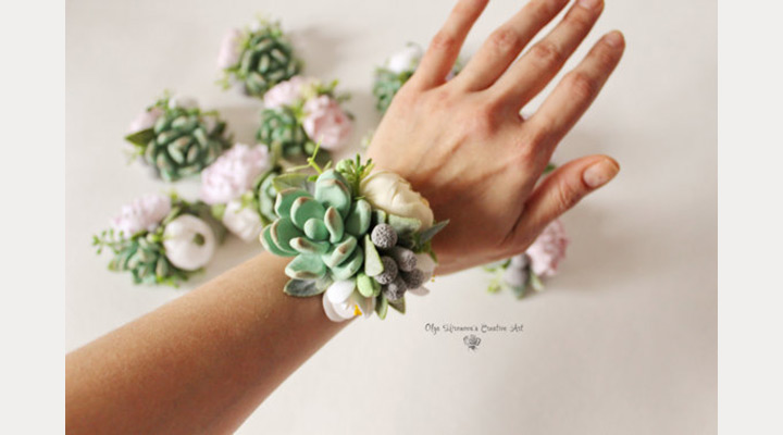 دسته گل مچی عروس با ساکولنت