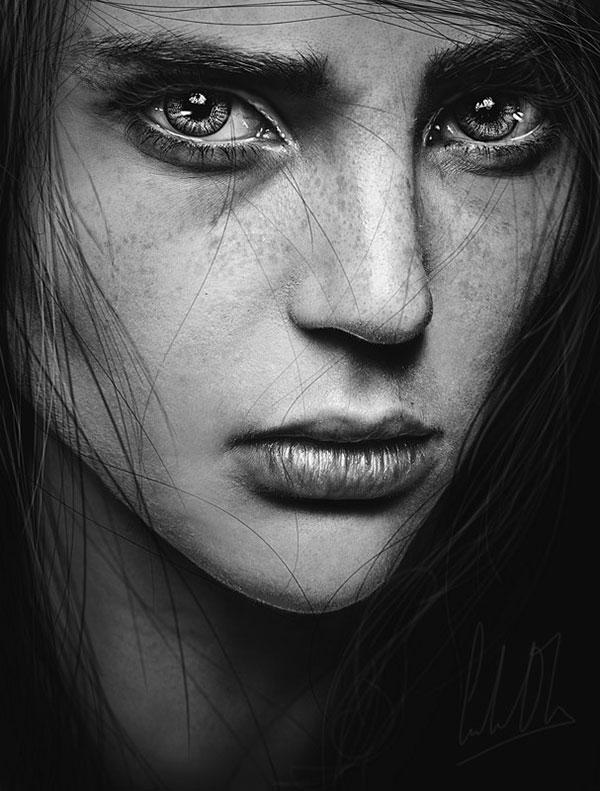 عکس سیاه و سفید هنری چهره دختر