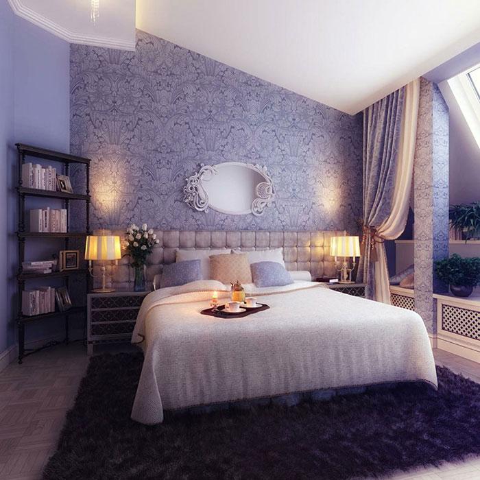 دکوراسیون اتاق خواب به رنگ بنفش