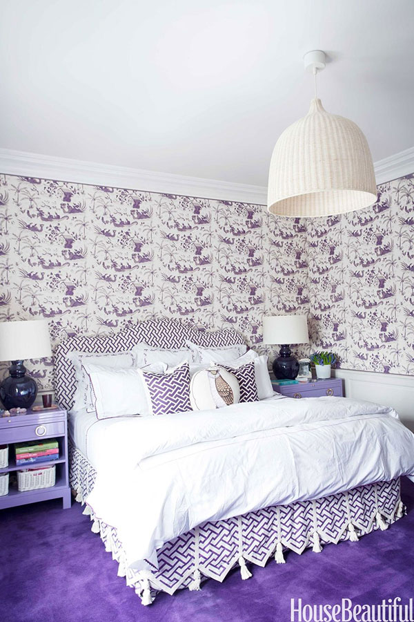 عکس اتاق خواب به رنگ بنفش