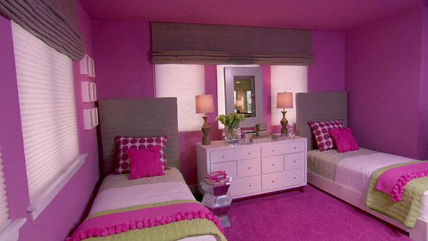 طراحی اتاق خواب به رنگ ارغوانی