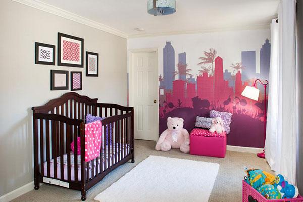 اتاق خواب نوزاد و کودک به رنگ ارغوانی