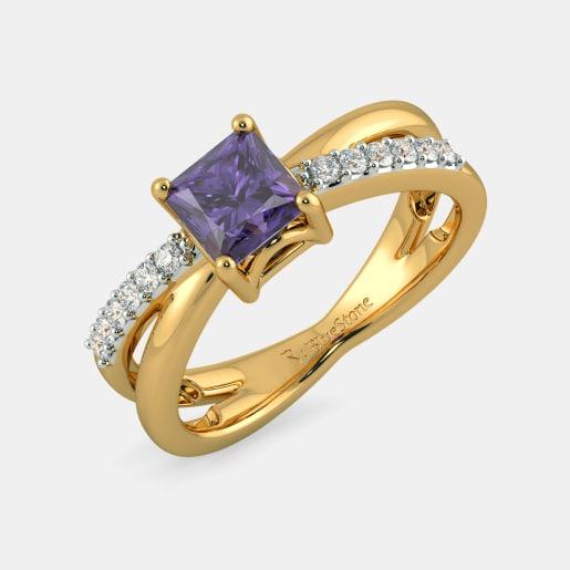 مدل انگشتر طلا زرد نگین دار زنانه با یاقوت ارغوانی