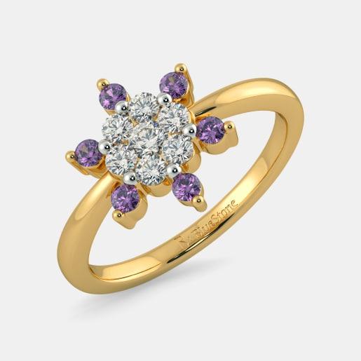 مدل حلقه طلا زرد زنانه با نگین الماس و یاقوت ارغوانی