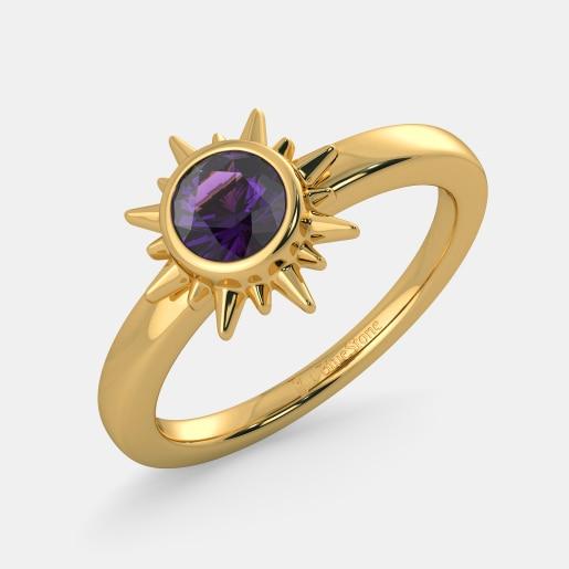 مدل انگشتر طلای نگین دار زنانه با یاقوت ارغوانی