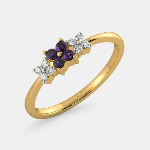 مدل حلقه طلای زنانه با نگین یاقوت ارغوانی