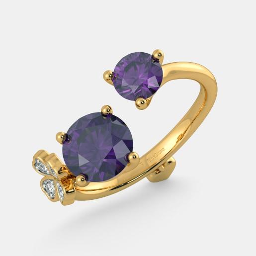 مدل انگشتر طلای شیک زنانه با سنگ آمیتیست