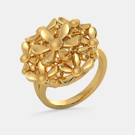 مدل انگشتر طلا زرد بدون نگین با طرح گل