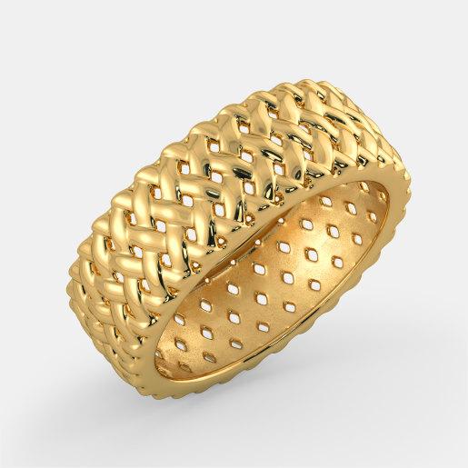 مدل انگشتر طلا زرد بدون نگین توری بزرگ