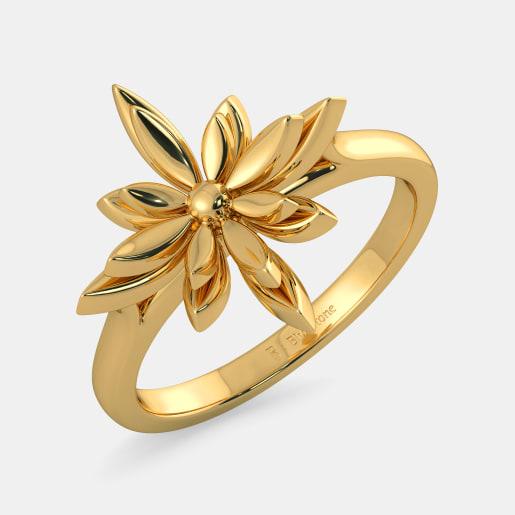 مدل حلقه طلا زرد بدون نگین با نقش گل