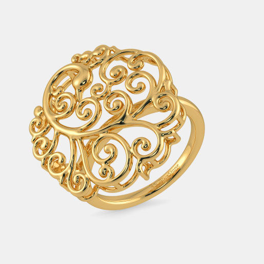 مدل حلقه طلا زرد بدون نگین توری زنانه
