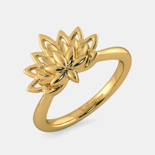 مدل انگشتر طلا با طرح گل لوتوس