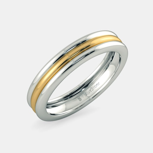 مدل انگشتر طلا سفید و زرد بدون نگین زنانه