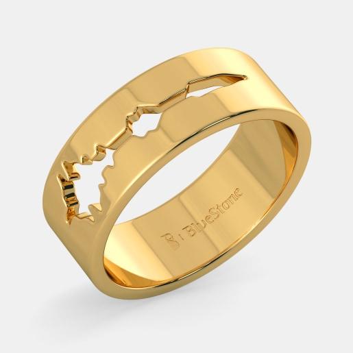 مدل انگشتر طلا بدون نگین با طرح فرکانس صدا