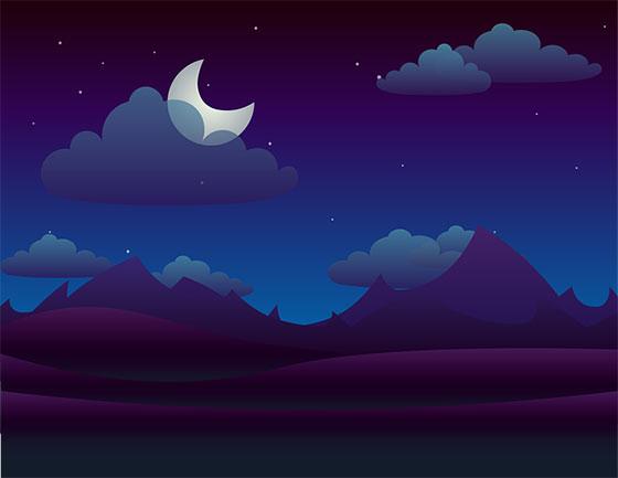 نقاشی ماه و ستاره فانتزی