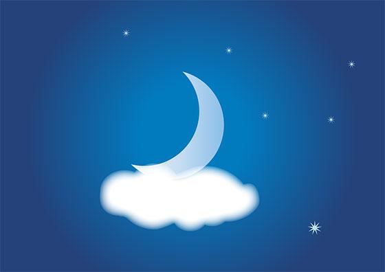 عکس ماه و ستاره فانتزی در شب