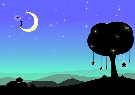 عکس ماه و ستاره عروسکی فانتزی در شب