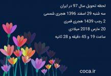ساعت و لحظه تحویل سال 97 در ایران